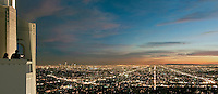 Los Angeles, CA, Cityscape,  L.A. Skyline, Fiery,  Sunset, Night, Dusk, lit, lights on, beautiful, View