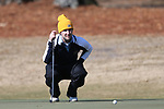 WILMINGTON, NC - MARCH 19: Kent State's Josh Whalen (CAN) lines up a putt on the Ocean Course fifth hole. The first round of the 2017 Seahawk Intercollegiate Men's Golf Tournament was held on March 19, 2017, at the Country Club of Landover Nicklaus Course in Wilmington, NC.