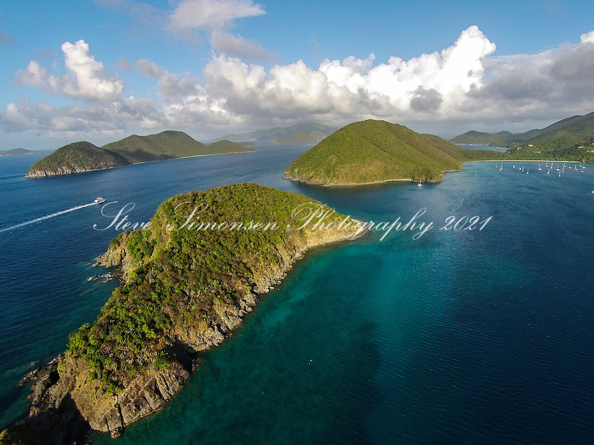 Aerial view of Whistling Cay<br />