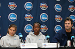 2 December 2006: North Carolina head coach Anson Dorrance (r) with players Tobin Heath (98) and Robyn Gayle (CAN) (11). The University of North Carolina Tarheels held a press conference at SAS Stadium in Cary, North Carolina one day before playing in the NCAA Division I Women's College Cup championship game.