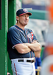 16 May 2012: Washington Nationals bench coach Randy Knorr stands in the dugout prior to a game against the Pittsburgh Pirates at Nationals Park in Washington, DC. The Nationals defeated the Pirates 7-4 in the first game of their 2-game series. Mandatory Credit: Ed Wolfstein Photo
