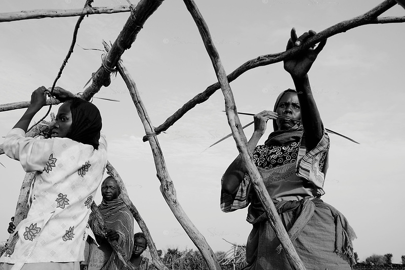 Abu Ajoura, South Darfur, August 2, 2004.A just returned family builds up a new home. Protected by a small police force, a few 'Fur' farmers have begun returning to their small town, completely destroyed on March 28.