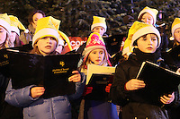 """NO REPRO FEE. 17/12/2010. Focus Ireland festive lights. CAChildren from the Piccolo Lasso Choir switched on the lights on the Christmas Tree at Grafton St. this evening (Fri Dec 17th) for the Focus Ireland """"Sponsor a Star"""" campaign. EUR250,000 has been raised by businesses sponsoring a star on the landmark tree which is dedicated to people who are homeless. Picture James Horan/Collins Photos"""