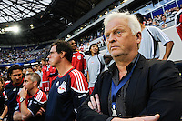 New York Red Bulls head coach Hans Backe along the sidelines prior to the start of a friendly between Sanots FC and the New York Red Bulls at Red Bull Arena in Harrison, NJ, on March 20, 2010. The Red Bulls defeated Santos FC 3-1.