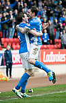 St Johnstone v Dundee&hellip;11.03.17     SPFL    McDiarmid Park<br />Blair Alston celebrates his goal with Paul Paton<br />Picture by Graeme Hart.<br />Copyright Perthshire Picture Agency<br />Tel: 01738 623350  Mobile: 07990 594431
