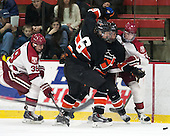 Brian Hart (Harvard - 39), Jeremy Goodwin (Princeton - 6), ?, Sean Malone (Harvard - 17) - The Harvard University Crimson defeated the Princeton University Tigers 3-2 on Friday, January 31, 2014, at the Bright-Landry Hockey Center in Cambridge, Massachusetts.