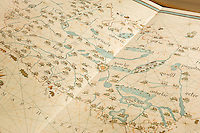 Old navigation map, Naval Museum of Cartagena, Formerly a Jesuit college (16 Century), Cartagena de Indias, Bolivar Department,, Colombia, South America.