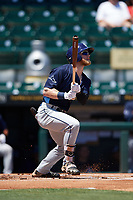 Charlotte Stone Crabs center fielder Jake Fraley (23) at bat during a game against the Bradenton Marauders on April 9, 2017 at LECOM Park in Bradenton, Florida.  Bradenton defeated Charlotte 5-0.  (Mike Janes/Four Seam Images)
