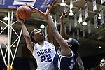 15 November 2016: Duke's Oderah Chidom (22) and Longwood's Eboni Gilliam (32). The Duke University Blue Devils hosted the Longwood University Lancers at Cameron Indoor Stadium in Durham, North Carolina in a 2016-17 NCAA Division I Women's Basketball game. Duke won the game 105-48.