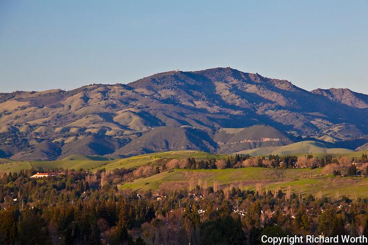 Mount Diablo from across the San Ramon Valley near sunset.