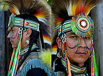 Portrait of  Keith Sharphead, Plains Cree, Thunderbird Pow-Wow in Queens County Farm, New York. His regalia is an example of ethnic pride, heritage and a celebration and traditional Native American folk art crafts.<br /> <br /> Plains Cree - GOR-81858-11<br /> Plains Cree - GOR-81850-11