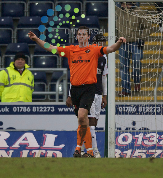 Scottish Clydesdale Bank Premier League, Championship Season 2009/10.Falkirk Football Club  V Dundee United Football Club...  Dundee United's Jon Daly celebrartes scoring goal Number 3  for his hatrick and United's 4th  , during today's thrilling Premier League encounter between Falkirk and .Dundee United, at The Falkirk Stadium, Westfield...Picture, Mark Davison/Universal News and Sport.