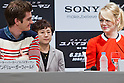 "June 13, 2012, Tokyo, Japan - Actor Andrew Garfield (left) and actress Emma Stone (right) react with one another during the press conference for the film ""The Amazing Spider-Man."" The movie will be released in Japanese theaters on June 30, 2012. (Photo by Christopher Jue/Nippon News)"