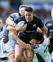 Sean Maitland of Saracens is double-tackled. European Rugby Champions Cup Quarter Final, between Saracens and Glasgow Warriors on April 2, 2017 at Allianz Park in London, England. Photo by: Patrick Khachfe / JMP