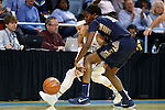 02 January 2015: ETSU's Serena Clark (15) and North Carolina's Jessica Washington (left) challenge for a loose ball. The University of North Carolina Tar Heels hosted the East Tennessee State University Buccaneers at Carmichael Arena in Chapel Hill, North Carolina in a 2014-15 NCAA Division I Women's Basketball game. UNC won the game 95-62.