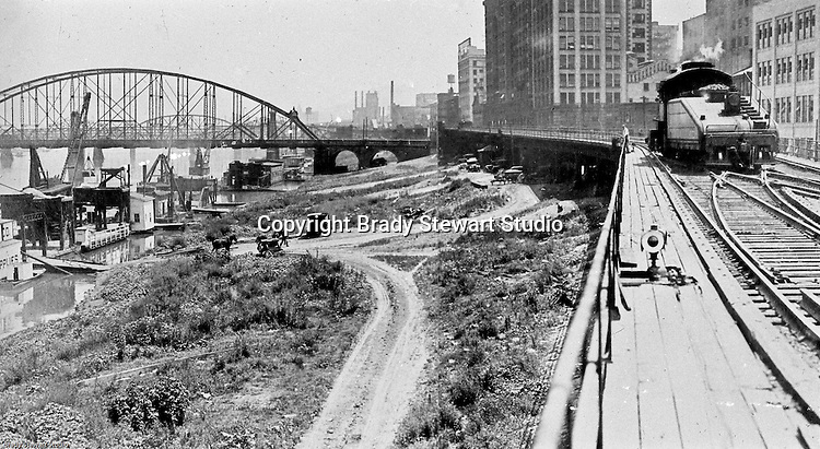 Pittsburgh PA: View of an old lantern slide created by Brady Stewart for the Pittsburgh Citizens Committee on City Plan (CCCP) when they were crafting the City Plan.  <br />