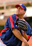 13 June 2006: Jose Vidro, second baseman for the Washington Nationals, warms up prior to a game against the Colorado Rockies at RFK Stadium, in Washington, DC. The Rockies defeated the Nationals 9-2 in the second game of the four-game series...Mandatory Photo Credit: Ed Wolfstein Photo..