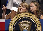 President Bush's twin daughters Jenna, left, and Barbara, are seen in the president's booth during the Republican National Convention at Madison Square Garden in New York City on Tuesday, August 31, 2004.