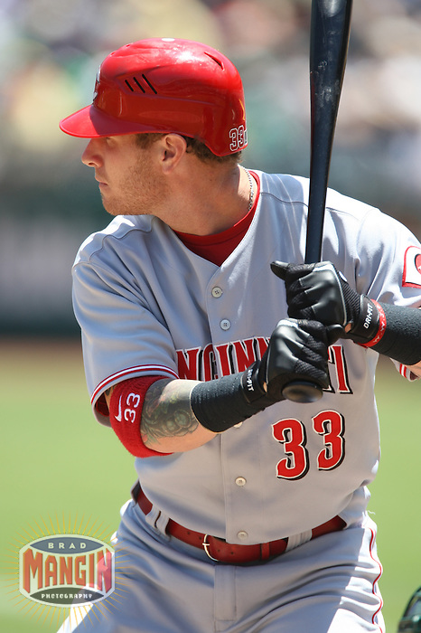 OAKLAND, CA - June 20:  Josh Hamilton of the Cincinnati Reds bats during the game against the Oakland Athletics at the McAfee Coliseum in Oakland, California on June 20, 2007. Photo by Brad Mangin