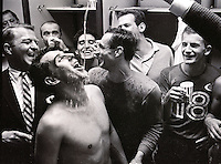 Oakland Clippers celebrate after winning the National Professional Soccer League championship (1967 photo by Ron Riesterer)
