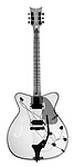 X-ray image of an electric guitar (black on white) by Jim Wehtje, specialist in x-ray art and design images.