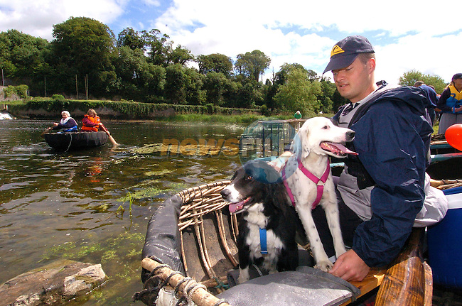 Dave Horan with his Dogs Padge and Jake getting ready to set of on the Boyne Currach festival race from Slane Bridge to Bru na B—inne. The event has been Sponsored by Drogheda Concentrates...Photo Fran Caffrey Newsfile.ie..This Picture has been sent to you by Newsfile Ltd..The Studio,.Millmount Abbey,.Drogheda,.Co. Meath,.Ireland..Tel: +353(0)41-9871240.Fax: +353(0)41-9871260.ISDN: +353(0)41-9871010.www.newsfile.ie..general email: pictures@newsfile.ie