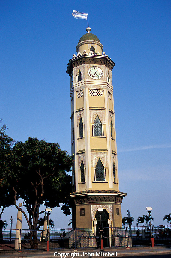 Moorish-style clock tower on the Malecon 2000 pedestrian walkway in Guayaquil, Ecuador