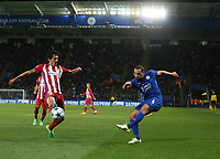 Leicester City's Daniel Drinkwater crosses the ball despite the attentions of Atletico Madrid's Stefan Savic<br /> <br /> Photographer Stephen White/CameraSport<br /> <br /> UEFA Champions League Quarter Final Second Leg - Leicester City v Atletico Madrid - Tuesday 18th April 2017 - King Power Stadium - Leicester <br />  <br /> World Copyright &copy; 2017 CameraSport. All rights reserved. 43 Linden Ave. Countesthorpe. Leicester. England. LE8 5PG - Tel: +44 (0) 116 277 4147 - admin@camerasport.com - www.camerasport.com