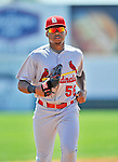 12 March 2012: St. Louis Cardinals outfielder Adron Chambers trots back to the dugout during a Spring Training game against the Washington Nationals at Space Coast Stadium in Viera, Florida. The Nationals defeated the Cardinals 8-4 in Grapefruit League play. Mandatory Credit: Ed Wolfstein Photo