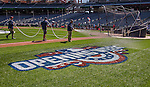 6 April 2015: Opening Week graphics are displayed on the turf as the crowds crew waters the grass prior to the Washington Nationals Season Opening Game against the New York Mets at Nationals Park in Washington, DC. The Mets rallied to defeat the Nationals 3-1 in their first meeting of the 2015 MLB season. Mandatory Credit: Ed Wolfstein Photo *** RAW (NEF) Image File Available ***