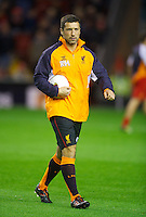 LIVERPOOL, ENGLAND - Thursday, October 4, 2012: Liverpool's head of fitness and science Ryland Morgans warms-up before the UEFA Europa League Group A match against Udinese Calcio at Anfield. (Pic by David Rawcliffe/Propaganda)