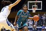 31 December 2015: UNCW's Amber Reeves (22) and Duke's Angela Salvadores (ESP) (3). The Duke University Blue Devils hosted the University of North Carolina Wilmington Seahawks at Cameron Indoor Stadium in Durham, North Carolina in a 2015-16 NCAA Division I Women's Basketball game. Duke won the game 78-56.