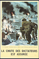 BNPS.co.uk (01202 558833)<br /> Pic: Onslows/BNPS<br /> <br /> ***Please use full byline***<br /> <br /> A poster in French reading 'A British commando raids a Norwegian port occupied by the Germans - the fall of the dictators is assured'<br /> <br /> A fascinating archive of propaganda posters used to boost the moral of British soldiers and citizens during the Second World War has emerged for sale.<br /> <br /> Among the collection are rousing images of Allied desert tanks destroying their Nazi opponents, marine commandos storming an occupied village and RAF bombers striking German factories.<br /> <br /> Others feature the capture of a German U-Boat and a British navy cruiser broadsiding an Italian submarine.<br /> <br /> The scenes are accompanied by equally stirring messages reassuring that &ldquo;the fall of the dictators is assured&rdquo; and that Great Britain was the &ldquo;defender of liberty&rdquo;.<br /> <br /> Many of the posters were destined for display overseas where troops had little idea of how the Allies were faring against the Nazis overall.