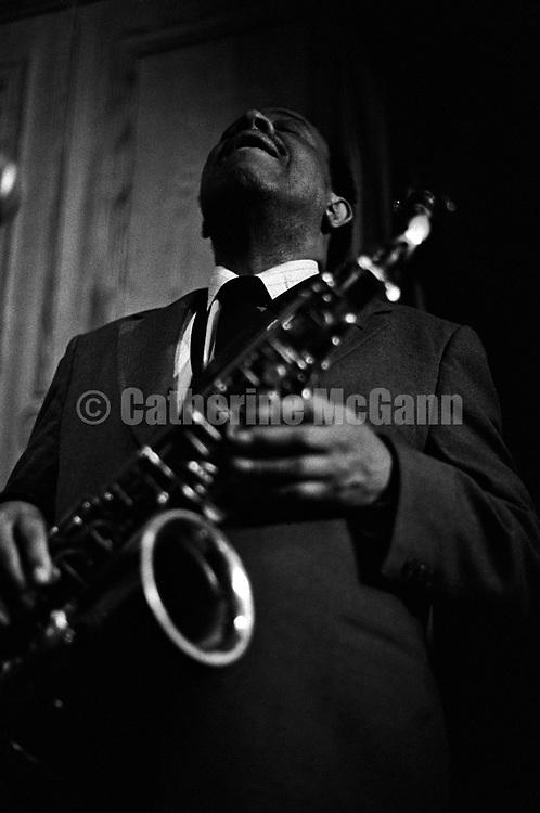 NEW YORK - JANUARY 1987:  American jazz musician Lou Donaldson plays his saxophone during a performance in January 1987 in New York City, New York. (Photo by Catherine McGann).Copyright 2010 Catherine McGann