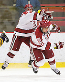 Daniel Moriarty (Harvard - 11), Marshall Everson (Harvard - 21) - The visiting Quinnipiac University Bobcats defeated the Harvard University Crimson 3-1 on Wednesday, December 8, 2010, at Bright Hockey Center in Cambridge, Massachusetts.