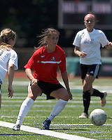 Aztec MA defender Carson Laderoute (24) receives pass. In a Women's Premier Soccer League (WPSL) match, Aztec MA defeated CFC Passion, 4-0, at North Reading High School Stadium on July 1, 2012.