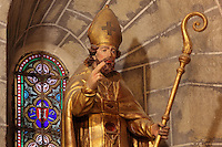 Reliquary statue of St Hilary, 1st bishop of Carcassonne, 18th century, in the Saint-Hilaire-D'Aude Abbey, built 11th - 14th centuries and closed 1748, when it became a parish church, Saint-Hilaire, Aude, Languedoc-Roussillon, France. St Hilary built the first chapel on this site in the 6th century. In the 10th century his relics were discovered here and the church, then an abbey, rededicated to him. Picture by Manuel Cohen