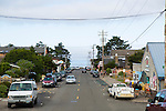 "Manzanita, Oregon, located on Neahkahnie Beach, is a small beach town located in Tillamook County on the Northern Oregon coast.  Manzanita means ""little apple"" in Spanish. Pictured here is Laneda Street which is lined with small shops."