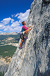 Climber on Fairview Dome, Tuolumne Meadows area, Yosemite National Park, California USA