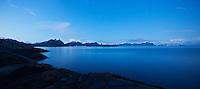 Scenic rocky coastline and mountain peaks; Stamsund; Lofoten islands; Norway