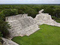House of the Moon, Southwest Temple, Great Acropolis, Puuc architectural style, Late Classic Period, 600 - 900 AD, Edzna, Campeche, Mexico. Picture by Manuel Cohen