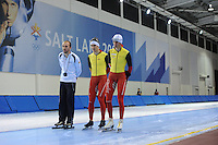 SCHAATSEN: SALT LAKE CITY: Utah Olympic Oval, 12-11-2013, Essent ISU World Cup, training, Jelle Spruyt (trainer/coach Team Stressless), Ferre Spruyt (BEL), Bart Swings (BEL), ©foto Martin de Jong