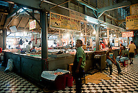 Interior of the market in Port Louis.