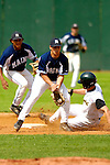 18 May 2006: Danny Menendez,  a University of Maine Freshman from Miami, FL, playing second base for the University of Maine Black Bears, attempts to tag out Vermont's sliding outfielder Jason Carey during a game against the University of Vermont Catamounts, at Historic Centennial Field, in Burlington, Vermont...Mandatory Photo Credit: Ed Wolfstein Photo..
