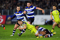 George Worth of Leicester Tigers is tackled to ground by Levi Douglas of Bath Rugby. Anglo-Welsh Cup match, between Bath Rugby and Leicester Tigers on November 4, 2016 at the Recreation Ground in Bath, England. Photo by: Patrick Khachfe / Onside Images