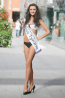 17/9/2010. Miss Ireland contestants. Miss Tyrone Ciara McStravick is pictured at St Stephens Green. the 35 Miss Ireland contestants officially unveiled in their swimwear and sashes for the 1st time at Stephen's Green Shopping Centre,  Dublin. Picture James Horan/Collins Photos