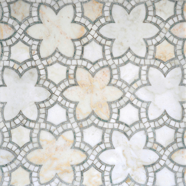 Reina, a handmade mosaic shown in polished Cloud Nine and Ming Green, is part of the Miraflores Collection by Paul Schatz for New Ravenna.<br />