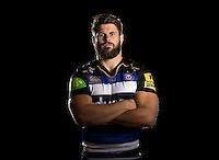 Guy Mercer poses for a portrait in the 2015/16 home kit during a Bath Rugby photocall on September 8, 2015 at Farleigh House in Bath, England. Photo by: Patrick Khachfe / Onside Images