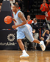 Jan. 8, 2011; Charlottesville, VA, USA;  North Carolina Tar Heels guard Larry Drew II (11) drives down court during the game against the Virginia Cavaliers at the John Paul Jones Arena. Mandatory Credit: Andrew Shurtleff