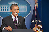 United States President Barack Obama conducts a press conference in the Brady Press Briefing Room of the White House in Washington, D.C. on Tuesday, March 6, 2012.  The President took questions on Israel, Iran, gas prices, and the economy..Credit: Ron Sachs / CNP